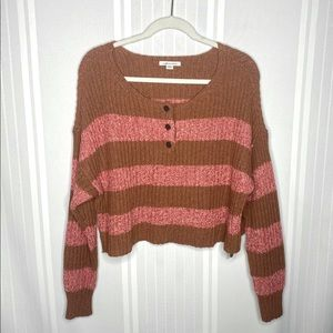 American Eagle Striped Cropped Henley Sweater Pink